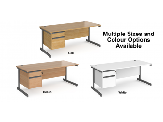 Contract Cantilever Leg Straight Office Desk with Two Drawer Storage