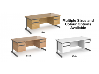 Contract Cantilever Leg Straight Office Desk with Two and Two Drawer Storage