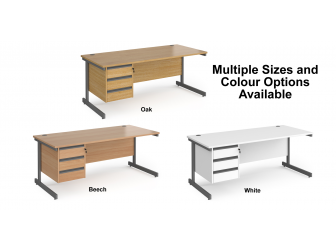 Contract Cantilever Leg Straight Office Desk with Three Drawer Storage