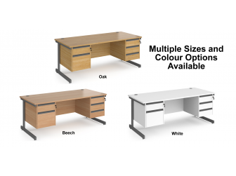 Contract Cantilever Leg Straight Office Desk with Three and Two Drawer Storage