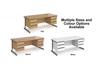 Contract Cantilever Leg Straight Office Desk with Three and Three Drawer Storage
