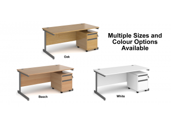 Contract Cantilever Leg Straight Office Desk with Two Drawer Mobile Pedestal