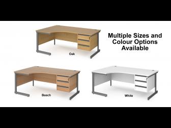 Contract Cantilever Leg Left Hand Ergonomic Corner Desk with Three Drawer Storage