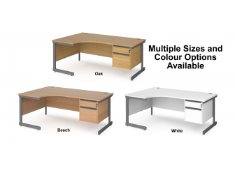 Contract Cantilever Leg Left Hand Ergonomic Corner Desk with Two Drawer Storage