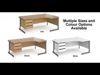 Contract Cantilever Leg Right Hand Ergonomic Corner Desk with Three Drawer Storage