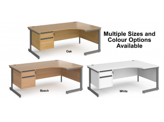 Contract Cantilever Leg Right Hand Ergonomic Corner Desk with Two Drawer Storage