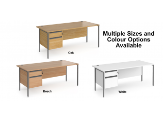 Contract H Frame Straight Office Desk with Two Drawer Storage