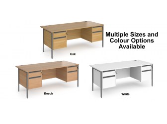 Contract H Frame Straight Office Desk with Two & Two Drawer Storage