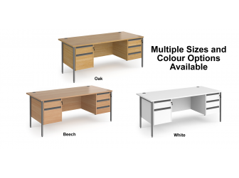 Contract H Frame Straight Office Desk with Two & Three Drawer Storage