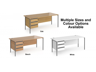 Contract H Frame Straight Office Desk with Three Drawer Storage