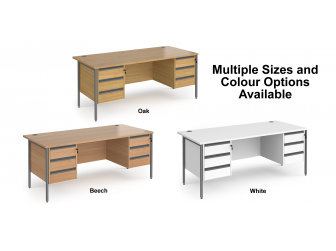 Contract H Frame Straight Office Desk with Three & Three Drawer Storage