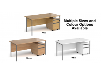 Contract H Frame Straight Office Desk with Two Drawer Mobile Pedestal