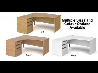 Contract Panel Leg Left Hand Ergonomic Desk with Desk High Pedestal