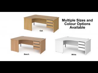 Contract Panel Leg Left Hand Ergonomic Corner Desk with Three Drawer Storage