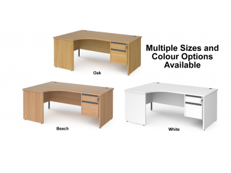 Contract Panel Leg Left Hand Ergonomic Corner Desk with Two Drawer Storage