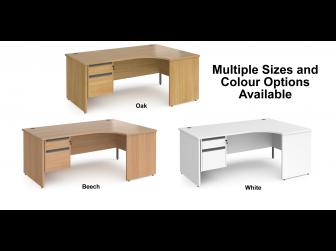 Contract Panel Leg Right Hand Ergonomic Corner Desk with Two Drawer Storage