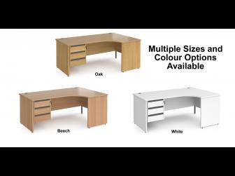 Contract Panel Leg Right Hand Ergonomic Corner Desk with Three Drawer Storage