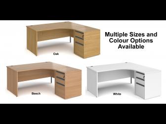 Contract Panel Leg Right Hand Ergonomic Desk with Desk High Pedestal