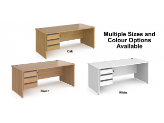 Contract Panel Leg Straight Office Desk with Three Drawer Storage
