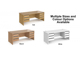 Contract Panel Leg Straight Office Desk with Three & Three Drawer Storage