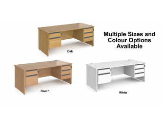 Contract Panel Leg Straight Office Desk with Two & Three Drawer Storage
