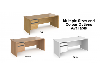 Contract Panel Leg Straight Office Desk with Two Drawer Storage