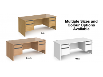Contract Panel Leg Straight Office Desk with Two & Two Drawer Storage