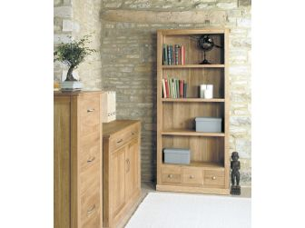 Oak Large Open Bookcase With 3 Drawers COR01A