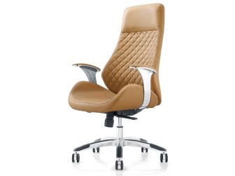 Contemporary Biege Leather Reclining Executive Office - YS1107A