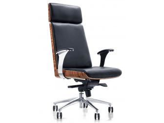 Black Leather Executive Office Chair with Walnut Veneer Shell - YS1205A