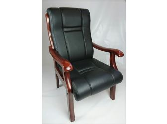 Black Leather Visitor Chair with Walnut or Mahogany Arms