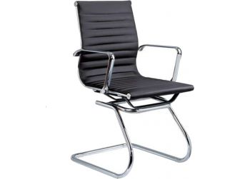 Eames Style Ribbed Black Cantilever Visitors Chair