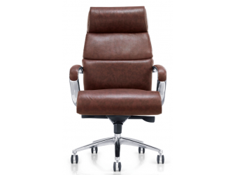 Brown Leather with Chrome Base Executive Office Chair - YS-1102A