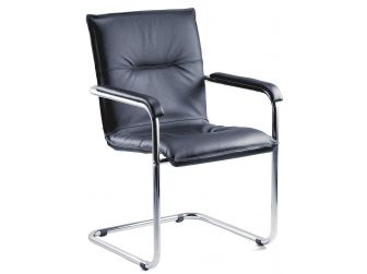 Twin Pack - Black Leather Reception Chair ENVOY