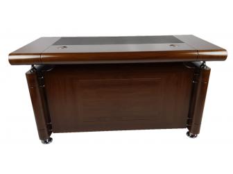 1861 1.4m Walnut Executive Office desk with drawer pedestal