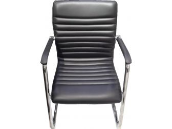 Quality Black Leather Visitor Chair - CHA-056C