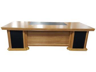 Large Light Oak Executive Office Desk with Pedestal & Return - HB-DSK-K1N281