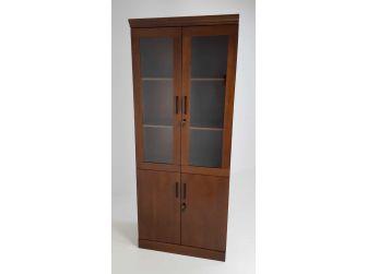 Real Wood Veneer Two Door Executive Bookcase in Walnut - 1861A