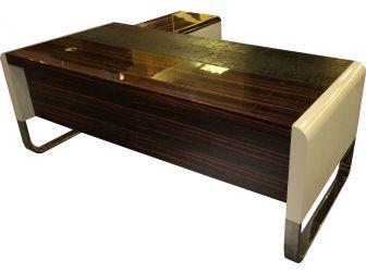 Senato DES-HGL-777 Gloss White Zebrano Executive Desk with Return & Pedestal