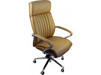Genuine Hide Beige Leather Executive Office Chair - CHA-03A