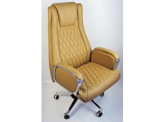 Beige Genuine Hide Real Leather Executive Office Chair - CHA-1202A