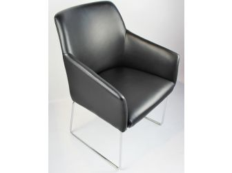 Modern Bonded Black Leather Visitor Chair - CHA-072