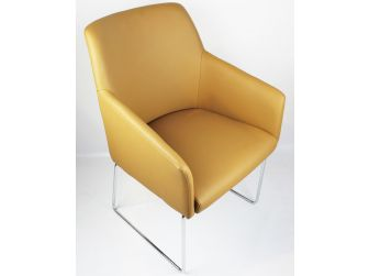 Modern Bonded Beige Leather Visitor Chair - CHA-072