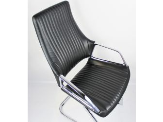 Contemporary Black Leather Visitor Chair - CHA-1318C