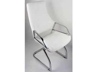 Contemporary White Leather Visitor Chair - CHA-1318C
