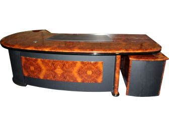 Luxury Executive Desk With Curved Design HAY-16841 Walnut with Black Leather 2600mm