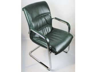 Executive Green Leather Visitor Chair - 6160GR