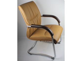 Luxury Beige Leather Visitor Chair DES-6126