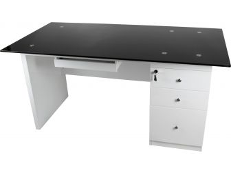 Gloss White Office Desk With Glass Top MXT205 1600mm Wide