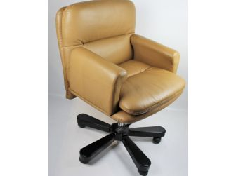 Traditional Beige Leather Office Chair - HSN-B019